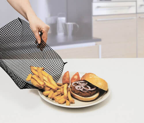 Oven basket used to serve crispy fries