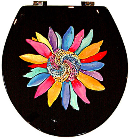 Sunflower Black Toilet Seat Elongated Free Shipping