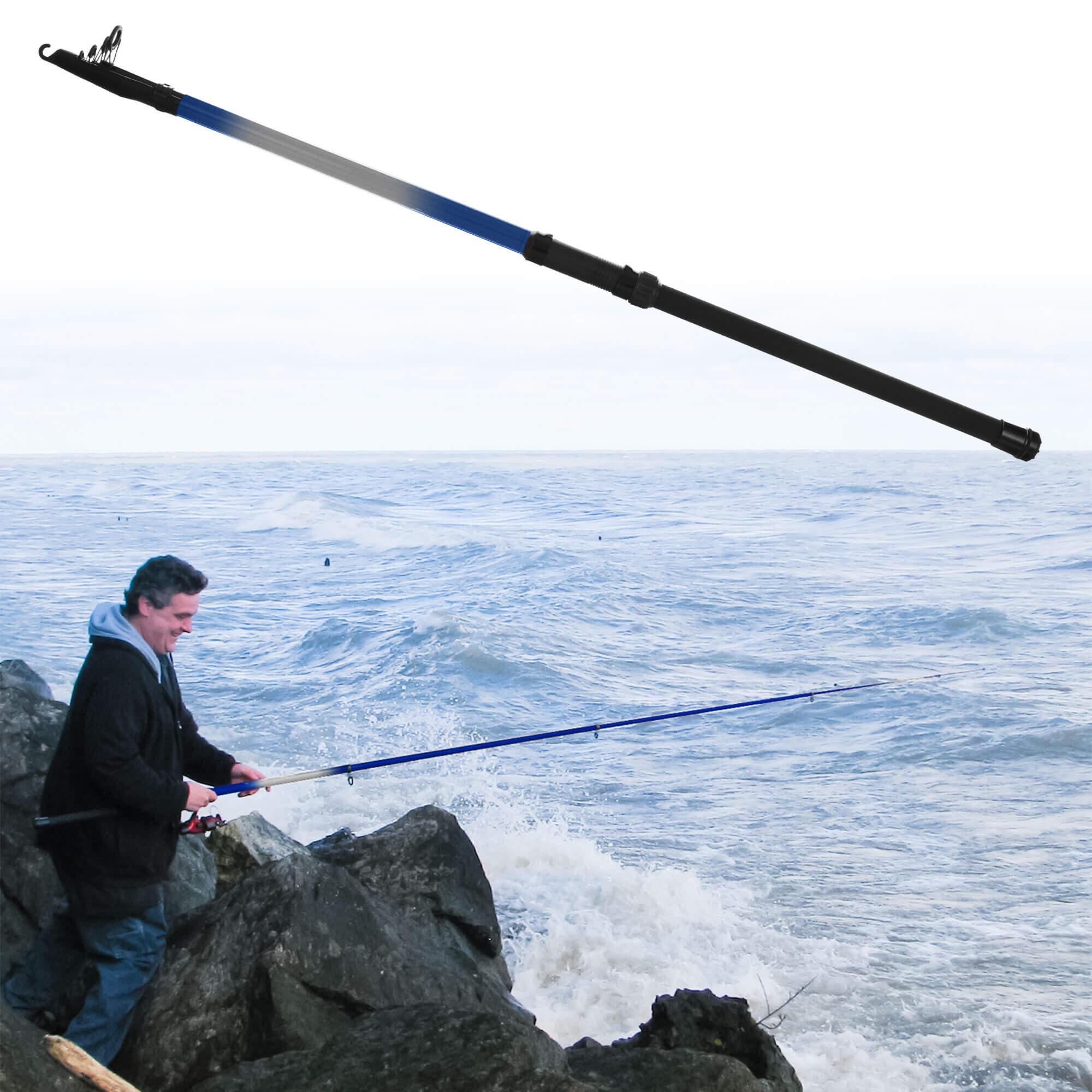 Gone fishing telescoping fishing rod up to 9 5 feet blue for Blue fishing rod